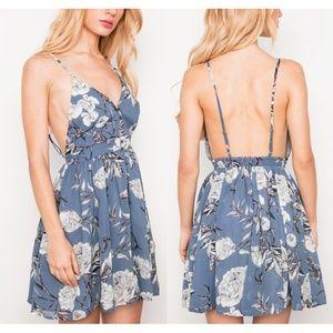 Last✌️ Blue Floral Open Back Button Babydoll Dress